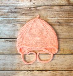 Baby bonnet wool hat Soft warm knit baby hat hand knitted newborn hat 1-3 month baby cap with ties hand knitted peachpuff newsborn baby cap by ShiverKnitsDesigns on Etsy