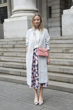 LFW Street Style Day Two: Martha Ward wearing an ASOS coat, Valentino shoes, and Bulgari bag