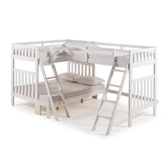 Alaterre Furniture Aurora White Twin Over Full Bunk Bed with Tri-Bunk Extension and Storage Drawers - The Home Depot Wood Bunk Beds, Full Bunk Beds, Twin Beds, Full Bed, Girl Bedroom Designs, Girls Bedroom, Bedroom Decor, Bed Designs, Bedrooms