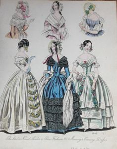 1841 Antique Victorian Hand Coloured Fashion Plate - Ladies Gowns  Bonnets   eBay