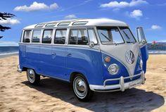 Pix For > Blue Vw Camper Van