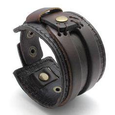 KONOV Jewelry Wide Genuine Leather Mens Bangle Cuff Bracelet, Color Brown: KONOV Jewelry: Jewelry