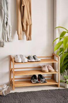 Shop Bamboo Shoe Storage Rack at Urban Outfitters today. Shoe Rack Closet, Diy Shoe Rack, Shoe Racks, Apartment Furniture, Home Furniture, Bedroom Furniture, Best Shoe Rack, Bamboo Shoe Rack, Entryway Storage