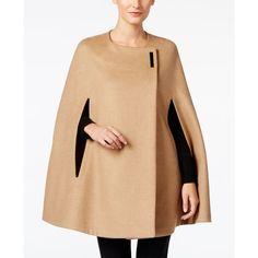 Alfani Hardware Cape Coat, ($200) ❤ liked on Polyvore featuring outerwear, coats, modern camel, alfani, camel cape coats, alfani coats, camel coat and beige coat