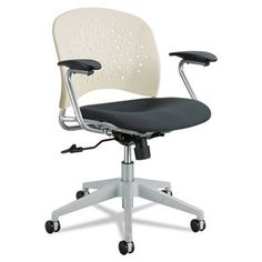 Reve Series Task Chair, Round Plastic Back, Polyester Seat, Black Seat/latte