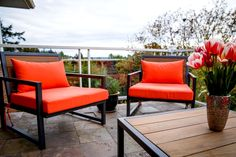 """We recently had some custom furniture made for our deck and needed custom cushions to match. These 4"" deluxe cushions are perfect -- they are plush, comfortable and we love the melon!"""