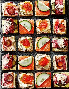 Enjoy luxury mini bread bites topped with smoked salmon, meats & cheeses, something for everyone and prefect for picnics.