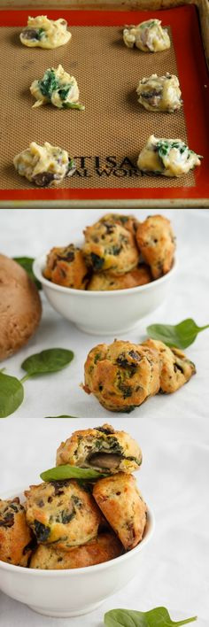 Mushroom and Spinach Puffs | #recipe #mushrooms #spinach #appetizer | http://thecookiewriter.com
