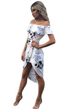 White Floral Ruffle Off Shoulder Wrap Boho Dress Cheap Cocktail Dresses, Cheap Dresses Online, Side Slit Dress, Dresses To Wear To A Wedding, White Floral Dress, Classy Dress, Boho Dress, Dress Collection, Shoulder