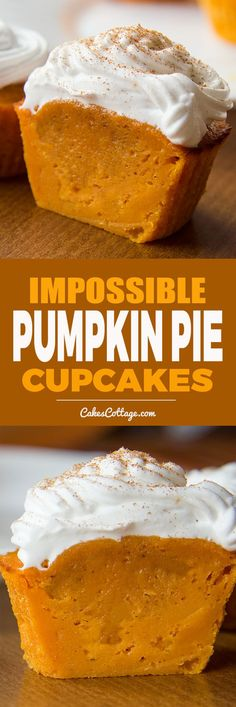 De-lic-ious Pumpkin Pie Cupcakes Desserts Impossible Pumpkin Pie Cupcakes - Page 2 of 2 - Cakescottage Pumpkin Pie Cupcakes, Pumpkin Dessert, Pumpkin Pie Muffins, Pumpkin Pies, Cupcakes Fall, Vegan Pumpkin, Pumkin Cookies Recipes, Pumpkin Drinks, Keto Pumpkin Pie