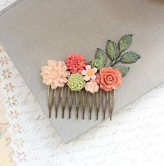 Flower Hair Comb Floral Collage Wedding Hair by apocketofposies
