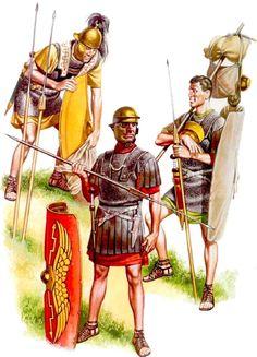 Legionary infantryman, late Republic period; Legionary infantrymen, late Augustan to Tiberian period