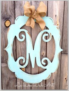Monogram, Door Decor, Vintage Modern, Distressed, Burlap, Trendy, Monogram Door Decor, Letter, Initial, Hand Painted on Etsy, $59.00