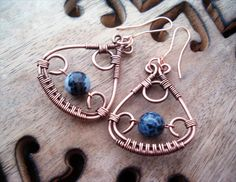 Wire Wrapped Earrings Copper and Blue Quartzite Gemstone - Handmade Copper Earrings - Copper Jewelry - wire wrapped Earrings handmade. €19.00, via Etsy.