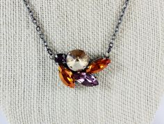 Amethyst and Astral Pink Navette Pendant by CrystallaJewelry