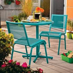 Vintage Metal Bistro Set 2 Chairs And Small Table Iron