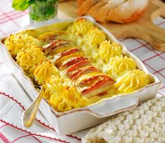 En värmande vintermiddag kan vara precis så här smidig: kassler, potatismos och mango, med smakrik sås på ädelost!