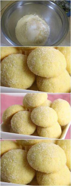 ESSES BISCOITINHOS SÃO UMA DELICIA..APRENDA FAÇA PARA SUA FAMILIA E AMIGOS!! VEJA AQUI>>> Misture o amido de milho, com a manteiga e o suco de maracujá. 2) Acrescente o açúcar refinado UNIÃO, a farinha de trigo e, por último, o fermento em pó. #receita#bolo#torta#doce#sobremesa#aniversario#pudim#mousse#pave#Cheesecake#chocolate#confeitaria Delicious Cookie Recipes, Sweet Recipes, Cake Recipes, Vanilla Cookies, Yummy Cookies, A Food, Food And Drink, Cookie Crisp, Portuguese Desserts