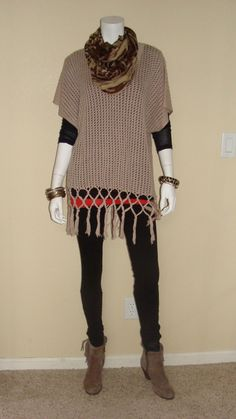 Daily Look:  CAbi #Spring#13 Fling Sweater with vintage Simple Cami in Cayenne, Ponte Legging, Skin Print Scarf and Limited Addition Sheer Tee in black.