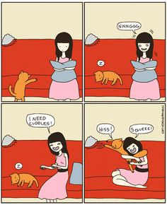 15+ Hilarious Comics That Perfectly Capture Life With Cats. Don't worry, I have my cat on my lap. And I'm already happy!