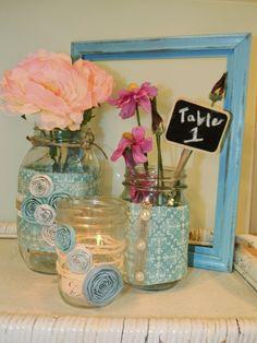 mason jar centerpieces | Upcycled Mason Jars/ Wedding Centerpiece