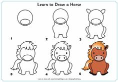 Learn to draw a horse tutorial for kids - LOVE this.  Lots of drawing tutorials linked here.