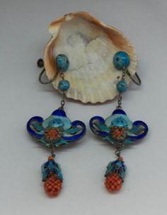 Vintage-Antique-Deco-Chinese-Silver-Enamel-Coral-Long-Drop-Dangle-Earrings