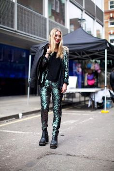 Sparkle away in this shimmering suit! We absolutely love a matching jacket and trouser combo.