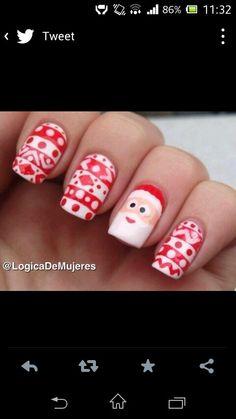Uñas para navidad :)