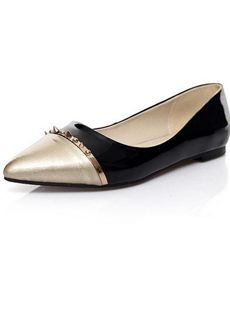 Rivets Decorated Color Block Genuine Leather Pointed Toe Flats