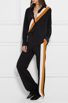 Black, white and mustard silk-crepe Concealed hook and zip fastening at front silk Dry cleanAs seen in The EDIT magazine Best Casual Outfits, Sporty Outfits, Cool Outfits, Indian Fashion Dresses, Fashion Outfits, Stella Mccartney, Birthday Dinner Outfit, Casual Wear Women, Pantalon Large