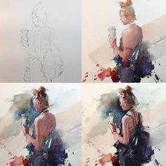 Eudes Correia: 2 тыс изображений найдено в Яндекс.Картинках Watercolor Portrait Tutorial, Art Watercolor, Watercolor Portraits, Watercolor Landscape, Watercolor Illustration, Painting People, Figure Painting, Watercolor Techniques, Painting Techniques