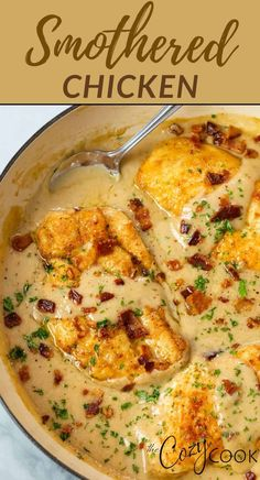 This smothered chicken recipe has juicy fried chicken breasts with gravy and crispy bacon. This is the BEST comfort food recipe that can also be made with chicken thighs or pork chops! Easy Pasta Recipes, Grilled Chicken Recipes, Great Recipes, Cooking Recipes, Favorite Recipes, Easy Meals, Fried Chicken Breast, Chicken Breasts, Chicken Thighs