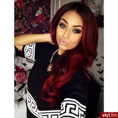 US Wine Red Synthetic Hair Wigs Ombre Burgundy Long Wavy Synthetic Wigs Wine Red Synthetic Lace Front Wigs Ombre Burgundy Long Wavy Synthetic Wigs Style: Wavy. Love Hair, Gorgeous Hair, Weave Hairstyles, Pretty Hairstyles, Natural Hair Styles, Long Hair Styles, Hair Laid, Hair Dos, Dyed Hair