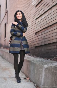 Warm Knits and Boden Petites Striped Trench - Extra Petite