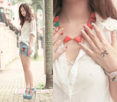 Adorable necklace and nails   Kitsch nails! (by Mayo Wo) http://lookbook.nu/look/3493677-kitsch-nails