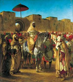 """Eugène Delacroix; """"Sultan of Morocco: Moulay Abd-Er-Rahman"""", 1845,  oil on canvas, Dimensions:Height: 37 cm (14.57 in.), Width: 34 cm (13.39 in.), Musée des Augustins  (France - Toulouse)."""