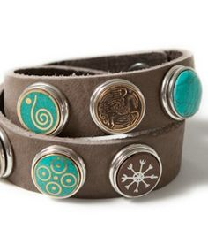 Noosa Amsterdam-armbanden: mix & match - Like & Love (it! Flower Fashion, Brown Leather, Jewelery, Fashion Accessories, Bling, Pure Products, Turquoise, My Style, Bracelets