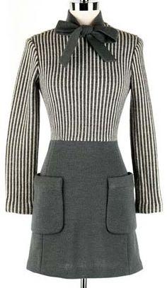 60's Gray Knit Striped Necktie Mod Mini Dress