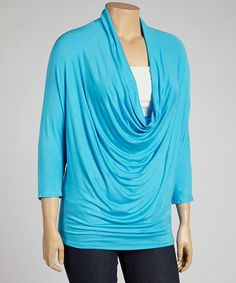 Look what I found on #zulily! Turquoise Drape Top - Plus #zulilyfinds