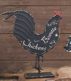 """Chickens Beware"" Rooster Sign Size: 13½""L x 3½""W x 14¾""T. FREE PRIORITY SHIPPING ON THIS ITEM!"
