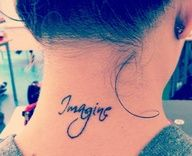 BEAUTIFUL IMAGINE INK TATTOO ON BACK NECK would want this in the black person equivalent to white ink