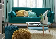 Scandinavian style sofa Scandinavian coffee table mint green Mint knitting pouf yellow mustard interior living room character modern colorful decoration by TyleenCk Living Room Style, Decor, Living Room Decor Inspiration, Colourful Living Room, Living Decor, House Interior, Room Decor, Sofa Scandinavian Style, Home Deco