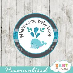 Printable blue whale baby shower personalized tags. Perfect for Favor Tags, Gift Bag Tags, Cupcake Toppers, Stickers and more. #babyprintables