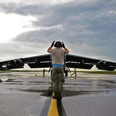"""#Repost @usairforce  A """"Buff"""" struts its stuff before takeoff.  A B-52 Stratofortress crew chief assigned to the 20th Expeditionary Aircraft Maintenance Squadron marshals his aircraft on the flightline Aug. 22 2015 at Andersen Air Force Base Guam. Bomber crews with the 20th Expeditionary Bomb Squadron are part of U.S. Pacific Commands continuous bomber presence and support ongoing operations in the Indo-Asia-Pacific region. (U.S. Air Force photo by Staff Sgt. Alexander W…"""