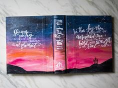 hand painted bible  sunset by LucysLettering on Etsy