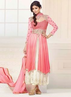 Shilpa Shetty Pink And Cream Party Wear Anarkali Suit