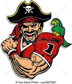 Vector - pirate football player - stock illustration, royalty free illustrations, stock clip art icon, stock clipart icons, logo, line art, EPS picture, pictures, graphic, graphics, drawing, drawings, vector image, artwork, EPS vector art