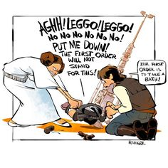 Leia, Han and Kylo (Calvin and Hobbes and Star Wars mashup) - by Brian Kesinger - #2