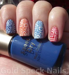 Base Coat: Nail RX - Stuck On You, Index: No7 - Poolside Blue, stamped with Konad Wite, Middle: Sally Hansen White On, stamped with Rimmel - POP!, Ring: Sally Hansen - White On, stamped with No7 Poolside Blue  Pinky: Rimmel - Pop!, stamped with Konad White, Image plate: Dashica Big SpD-A, Top Coat: Models Own - 3 In 1